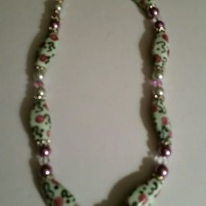Handed painted Beads & Pink Pearls Necklace